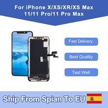 Elekworld – Ecran LCD de remplacement pour IPhone, pièce de rechange OLED, écran d'affichage tactile 3D, avec numériseur d'assemblage pour modèles X, XR, XS, XS Max, 11 Pro Max, In-cell