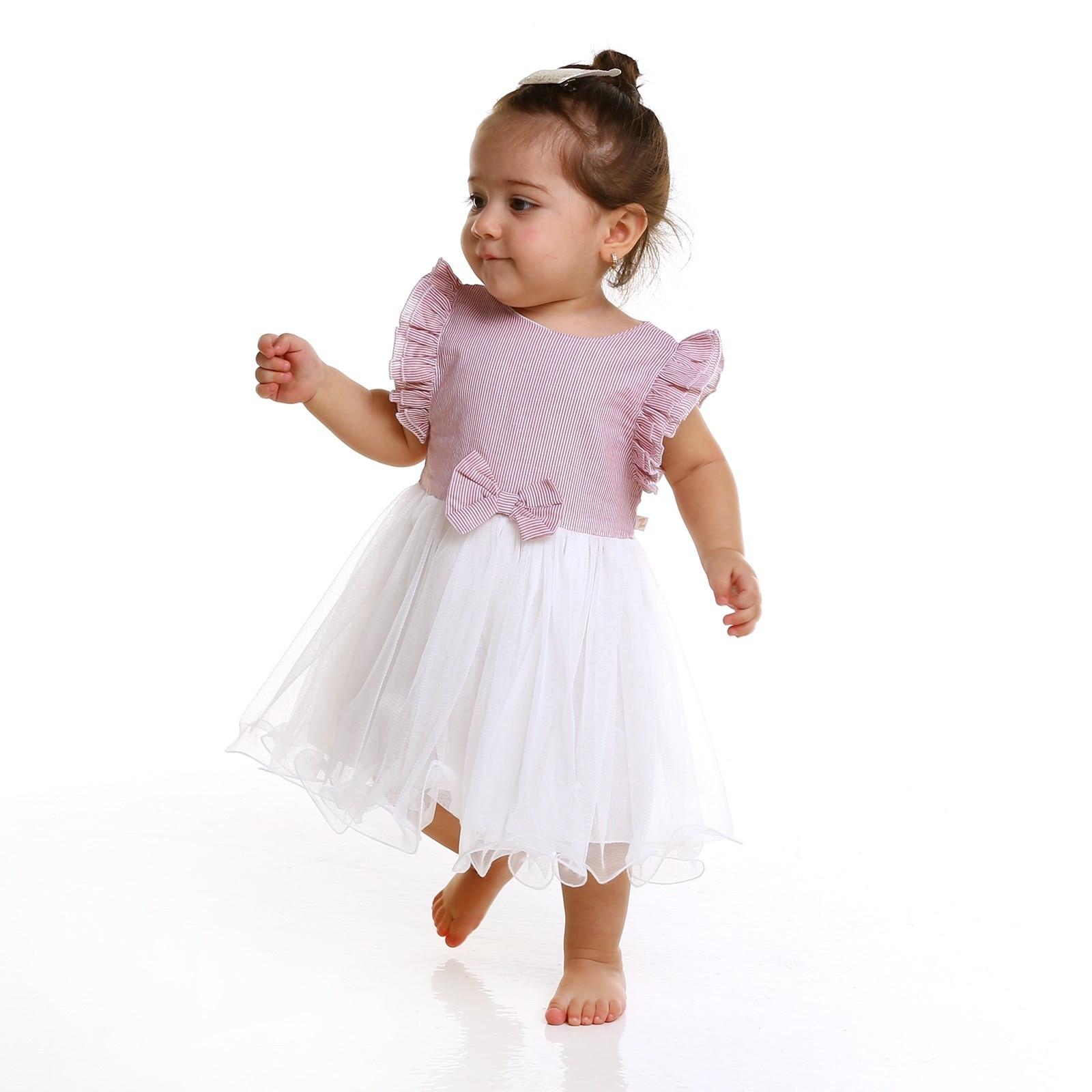 Ebebek BabyZ Baby Girl Texture Bow Detailed Panty Dress