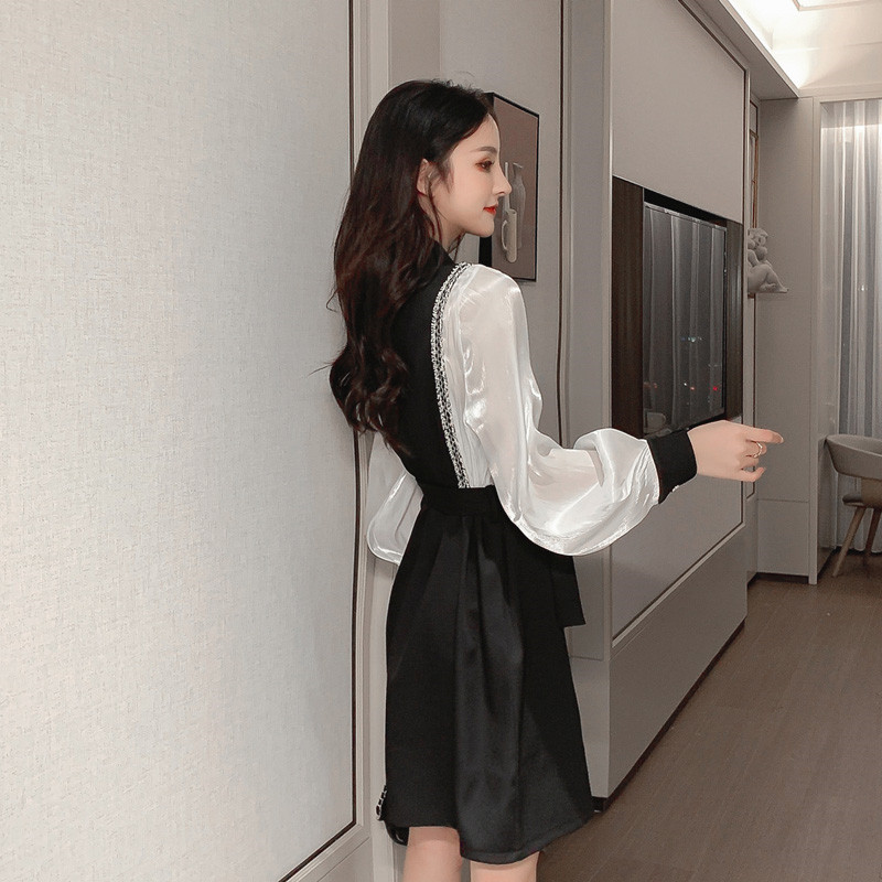 The new spring fashion is thin and fake two-piece bottoming shirt Hepburn style French super fairy women's temperament dress 5
