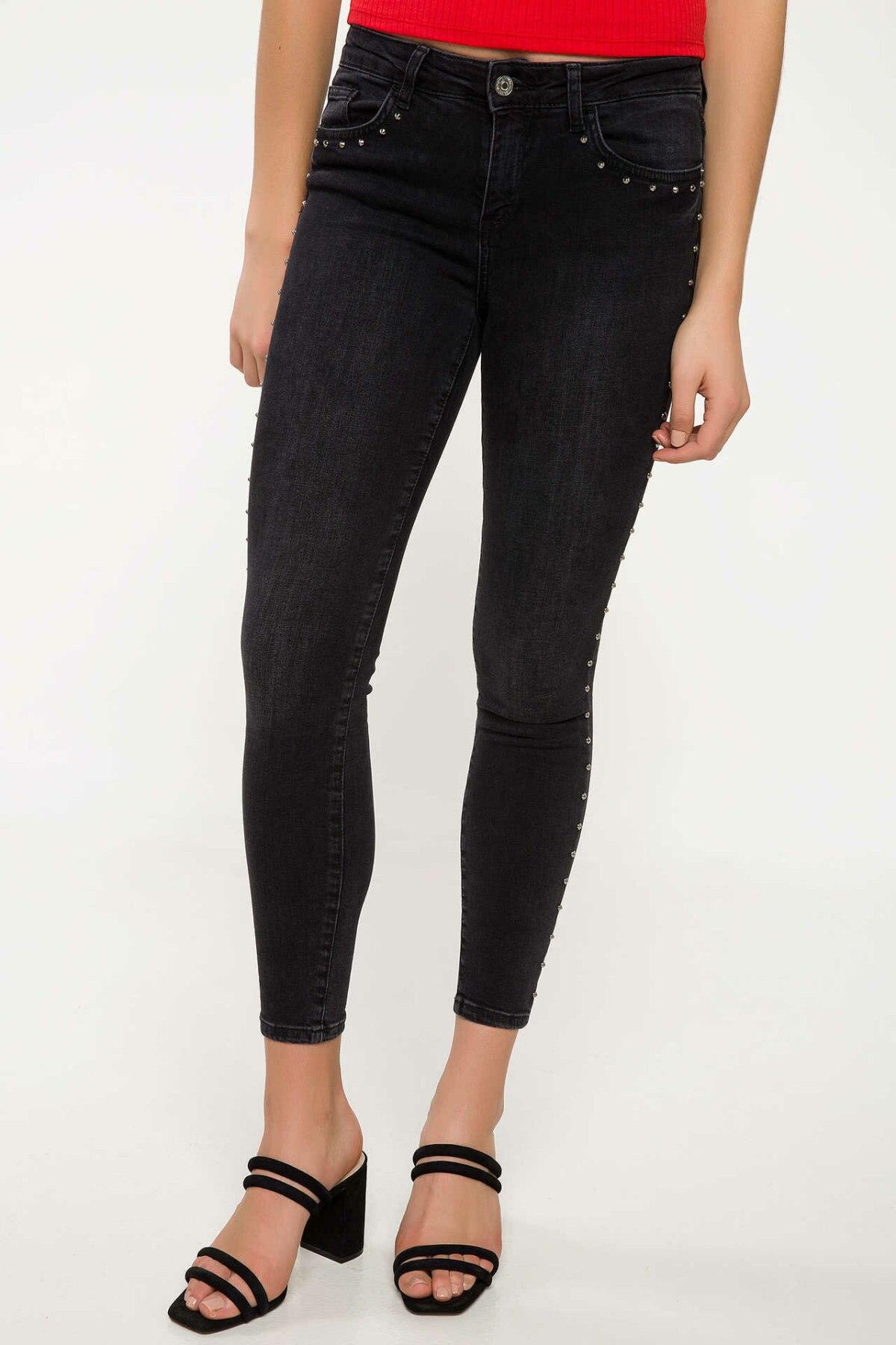 DeFacto Casual Woman Jeans Trousers Female Pencil Comfort Denim Pants Ladies Simple Joker Pants New Black - J0464AZ18SM