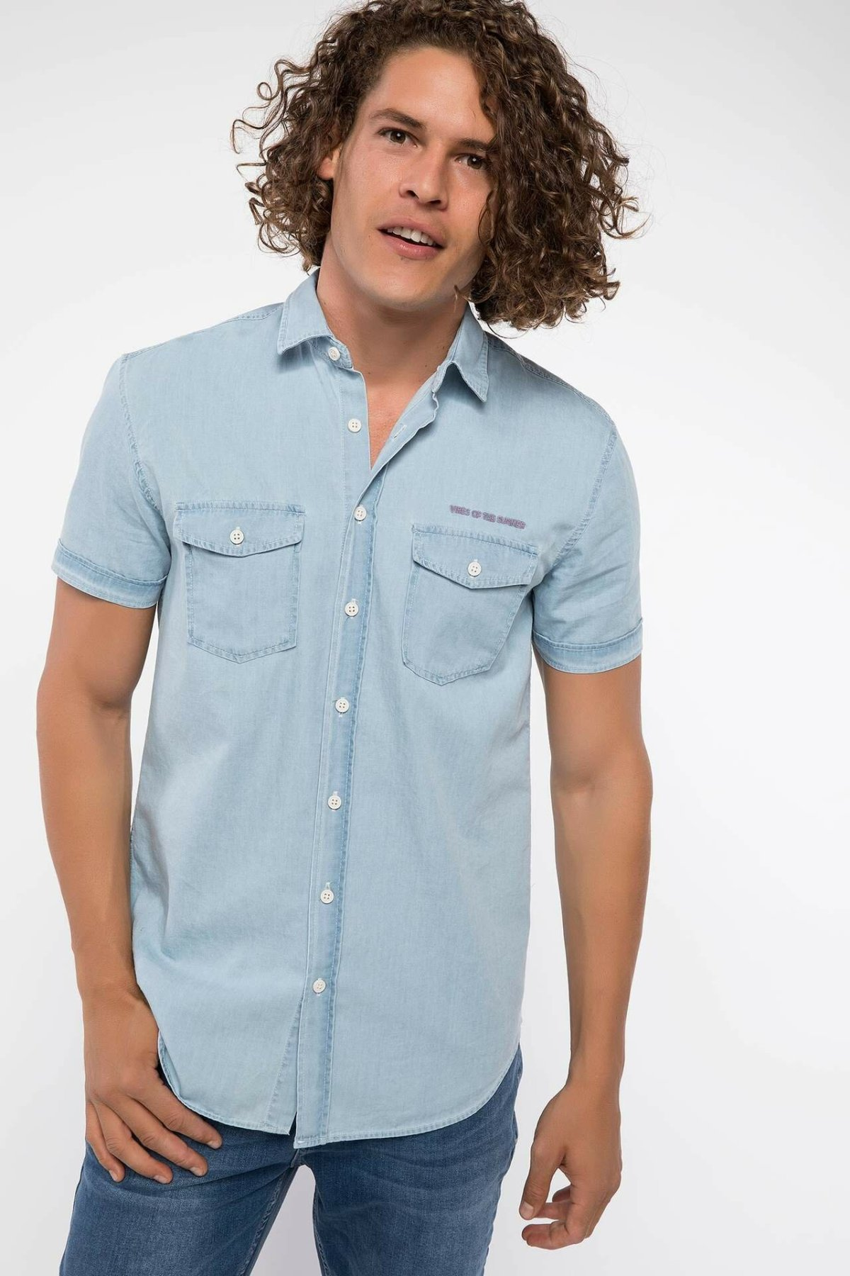 DeFacto Fashion Lapel Collar Men Casual Blue Shirt Short Sleeve Dual Chest Pockets Solid Male Top Shirt-I8487AZ18HS-I8487AZ18HS