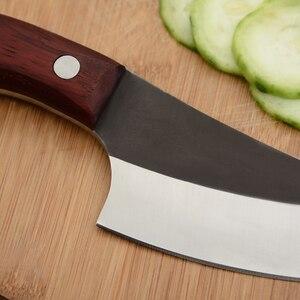 Image 4 - Qing el yapımı şef bıçak seti paslanmaz çelik mutfak bıçağı ve deri kılıf el yapımı dövme tam Tang kolu pişirme aksesuarları