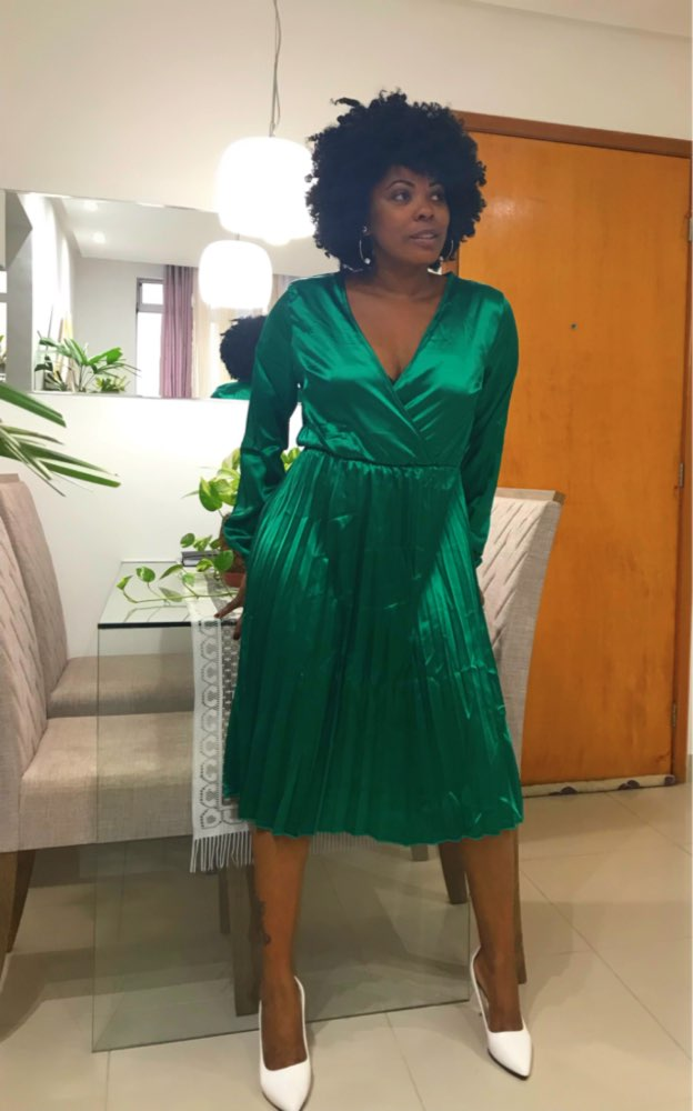 Elegant Fit And Flare Pleated Satin Dress Women Summer Autumn Off Shoulder Long Sleeve Ladies Casual Green Vestidos photo review