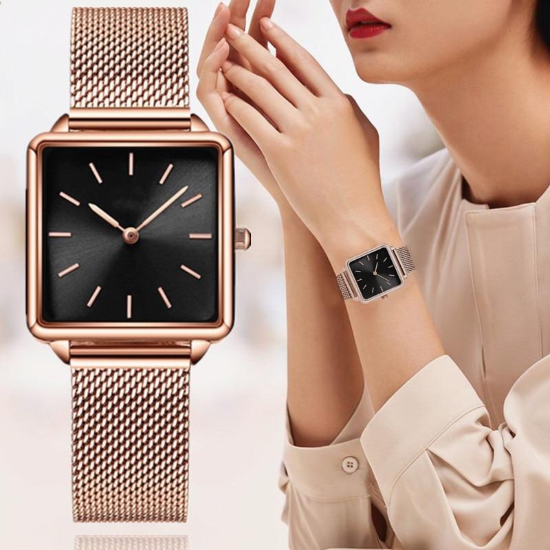 Reloj Mujer Luxury Women Watches Rose Gold Simple Magnetic Mesh Belt Band Watch Women's Fashion Square Wristwatch Zegarek Damski