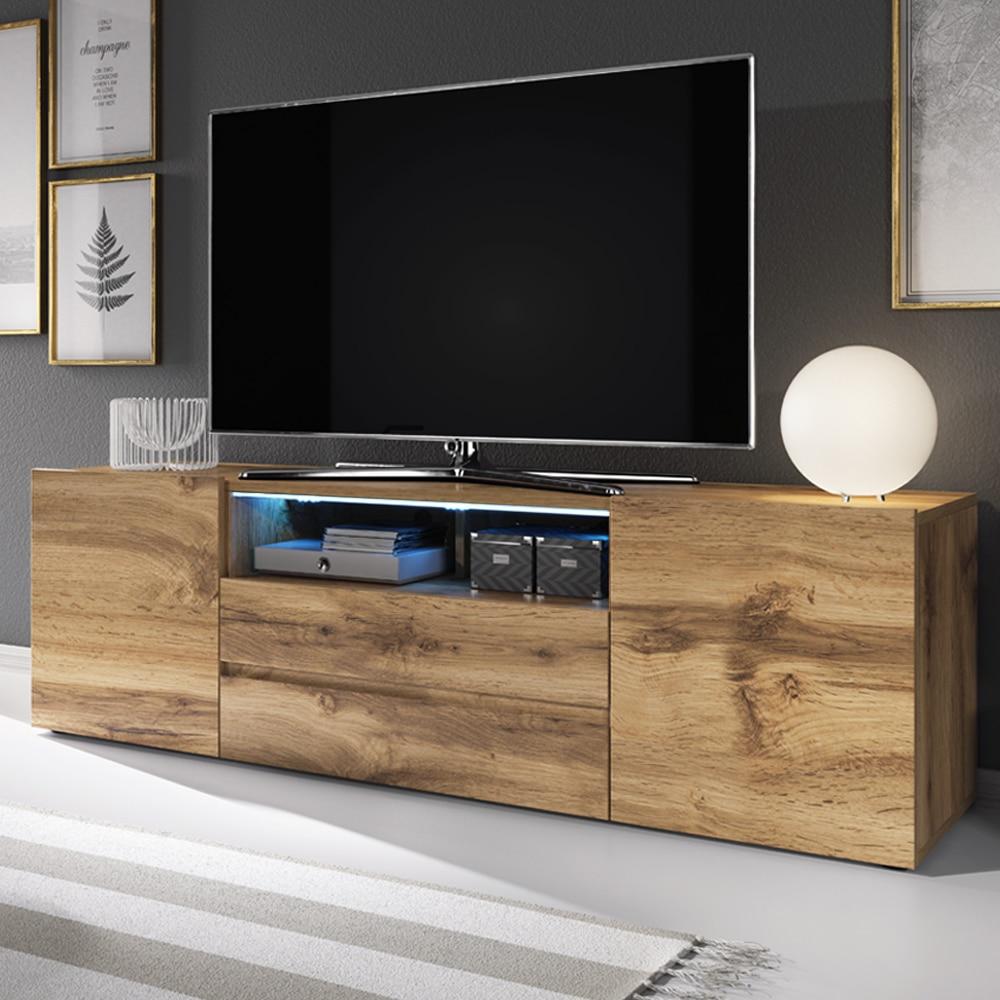 Selsey BROS - Meuble tv / Banc tv (137 cm, effet chêne wotan, avec LED)