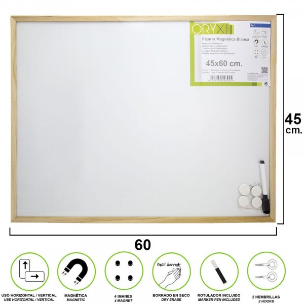 White Magnetic blackboard 45x60 cm. With Marker and 4 Magnets