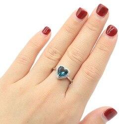 11x11 мм Бесконечность Свадьба 2,5 г сердечко Ceated Лондон синий топаз CZ для девочек 925 Твердые серебряные кольца оптовая продажа