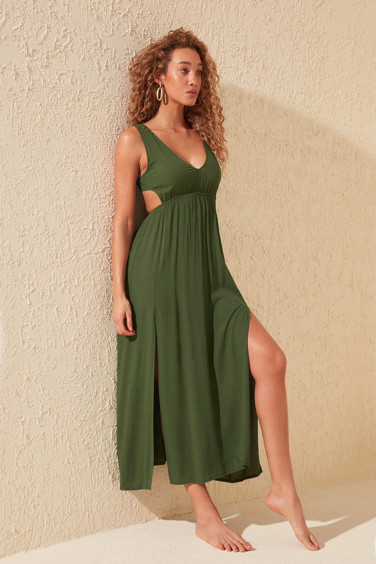 Trendyol V-Neck Viscose Dress TBESS20EL0819