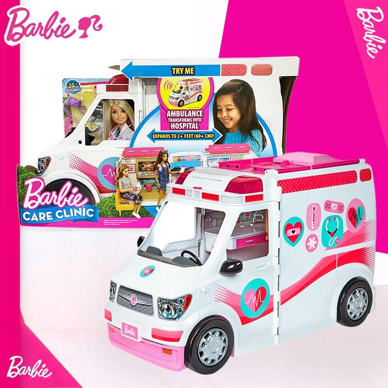 2019 barbie menina boneca brinquedo clinica veiculo playset ambulancia norme carro brinquedo com doutor acessorios frm19
