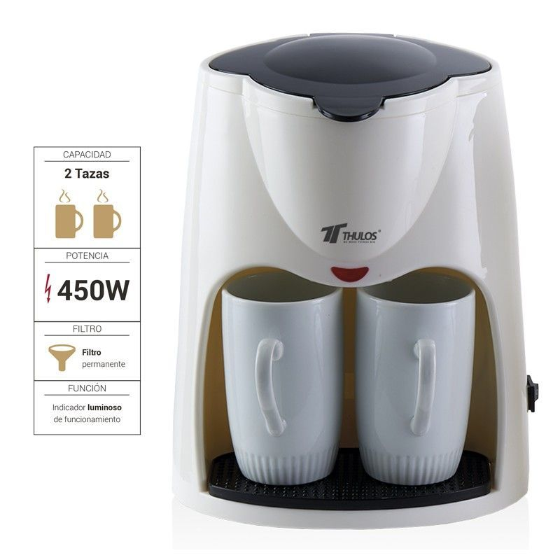 THULOS, Drip Top Coffee Maker, Include 2 Porcelain Mugs 0.30L Each One. It Has 450W Power And Indicator Pilot Light.