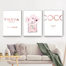 Perfume Pink Posters Painting Peony Wall-Pictures Living-Room-Decor Abstract Canvas Prints