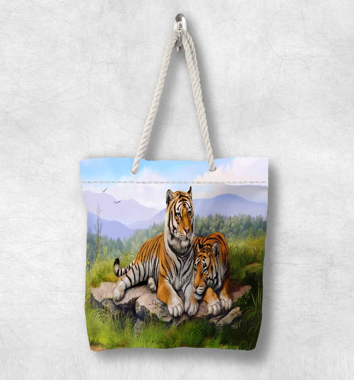 Else Green Jungle on Brown Tigers Animals New Fashion White Rope Handle Canvas Bag Cotton Canvas Zippered Tote Bag Shoulder Bag