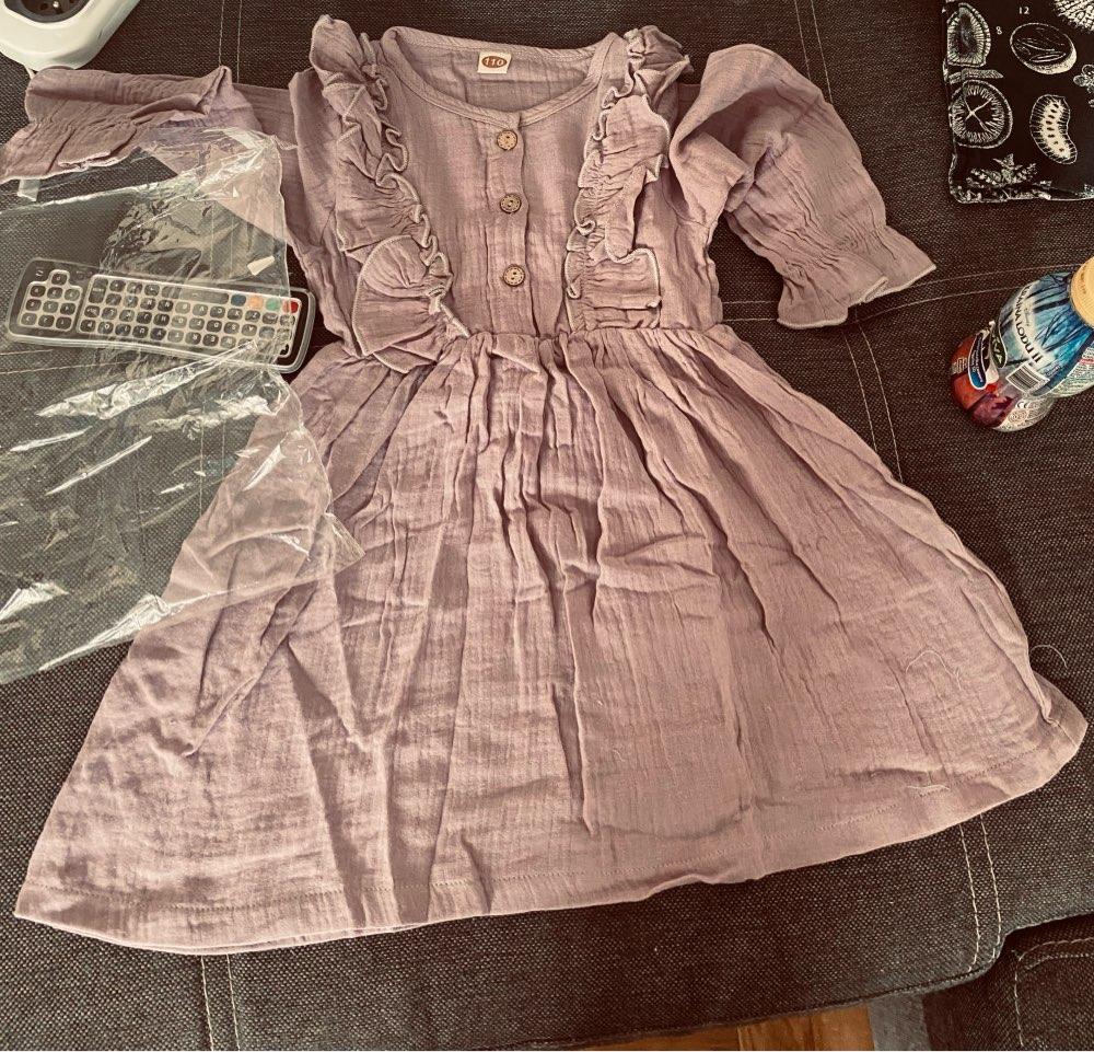 Linen Cotton Girl Autumn Casual Dress Clothes photo review