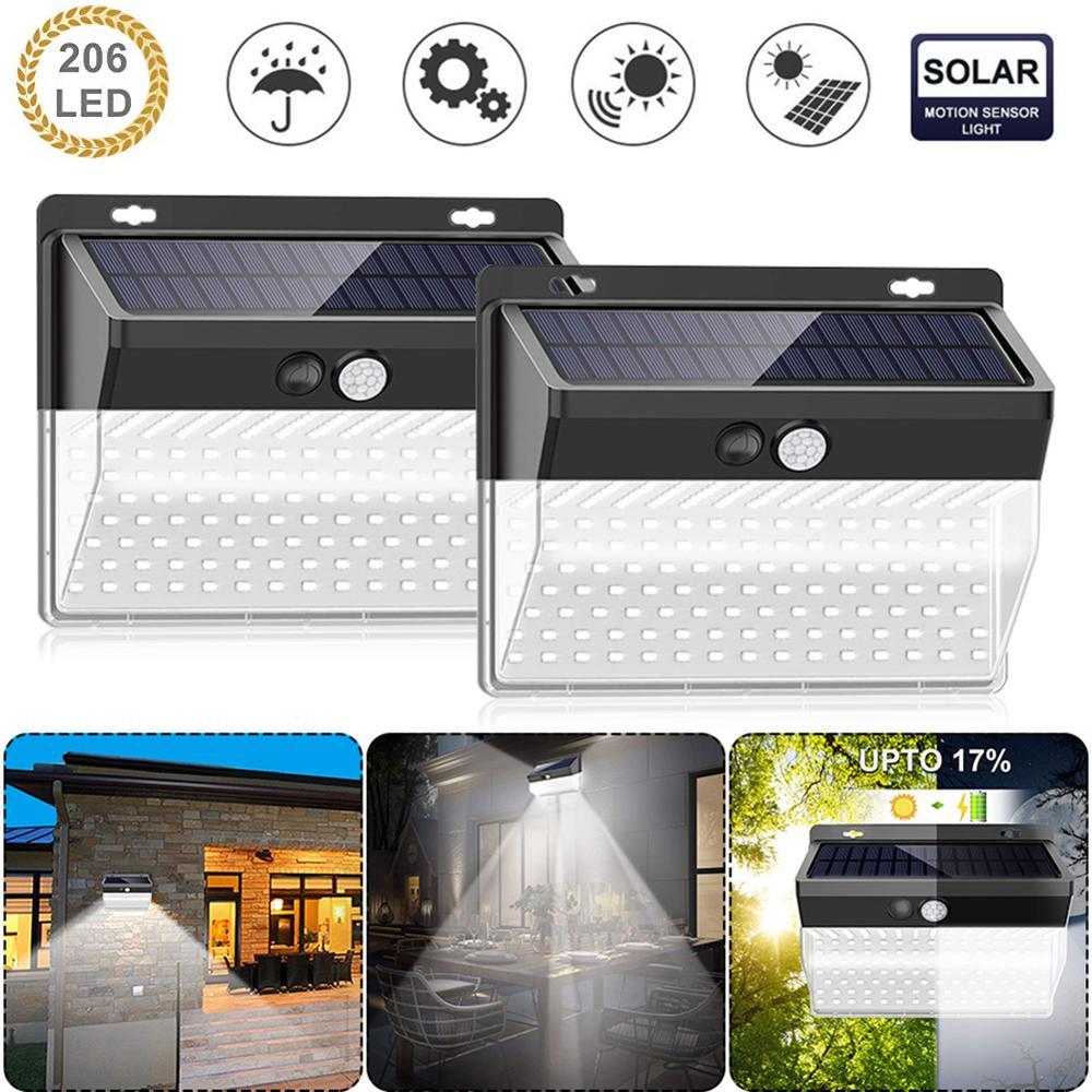 2pcs 118/206LED Solar Motion Sensor Wall Light Waterproof Solar Light Outdoor Waterproof Yard Lamp Energy Saving Garden Lamp
