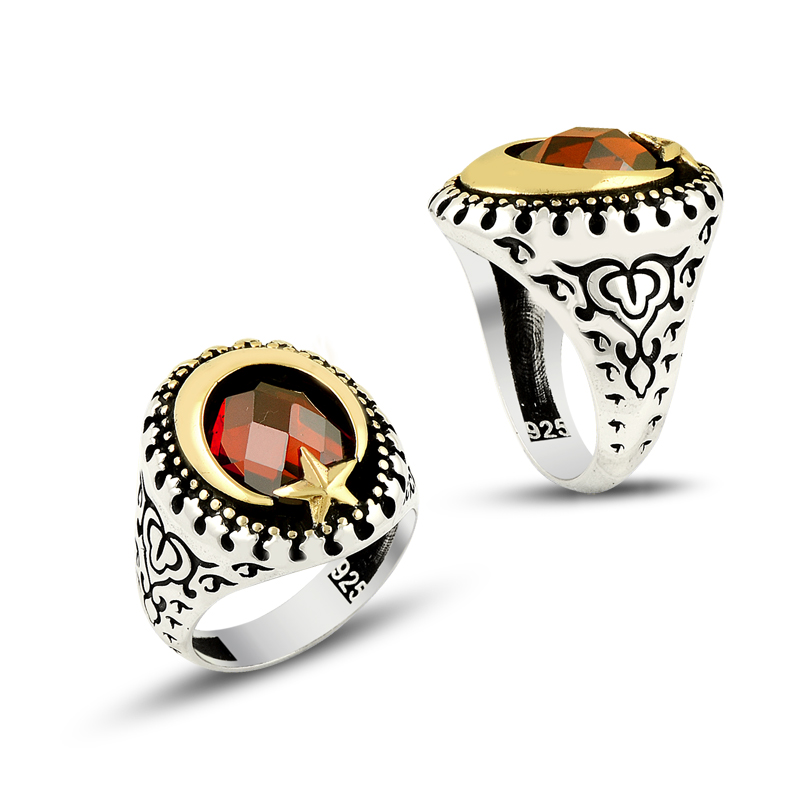 925 Silver Moon Star Turkish Ring for Men