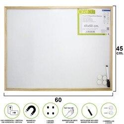 Beyaz manyetik tahta 45x60 cm. Işaretleyici ve 4 mıknatıslar