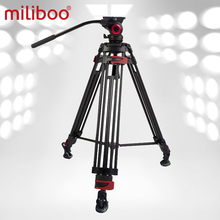 Miliboo 603A profesyonel seyahat kamera tripodu sıvı kafa ile ağır alüminyum Tripod çekim kuş 75mm kase boyutu