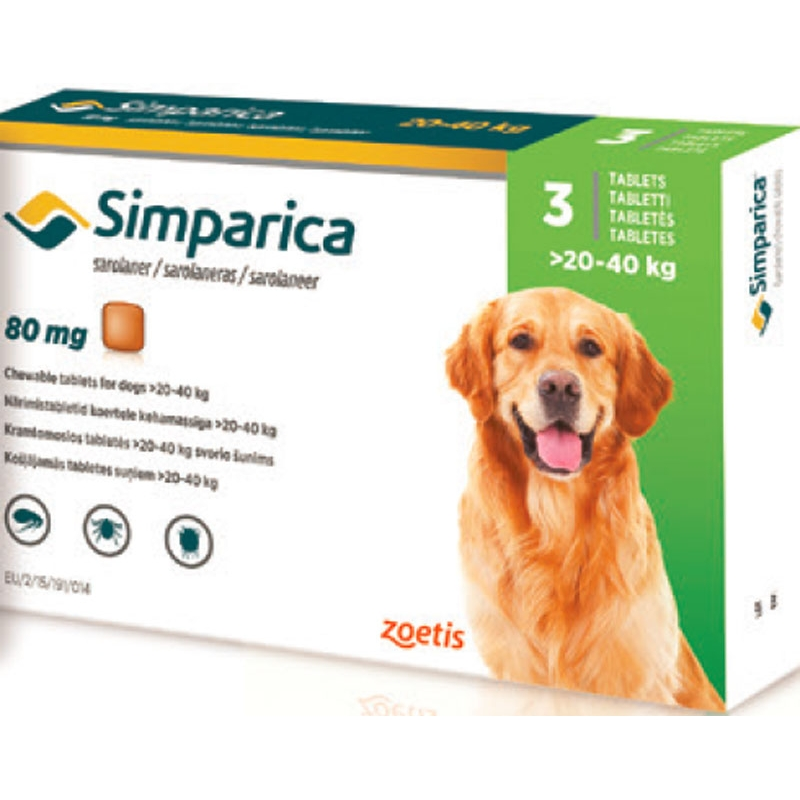 SIMPARICA TABLETS ZOETIS 20-40 Sarolaner. Indicated In The Infestaciones From Flea And Tick Treatment And Sarna