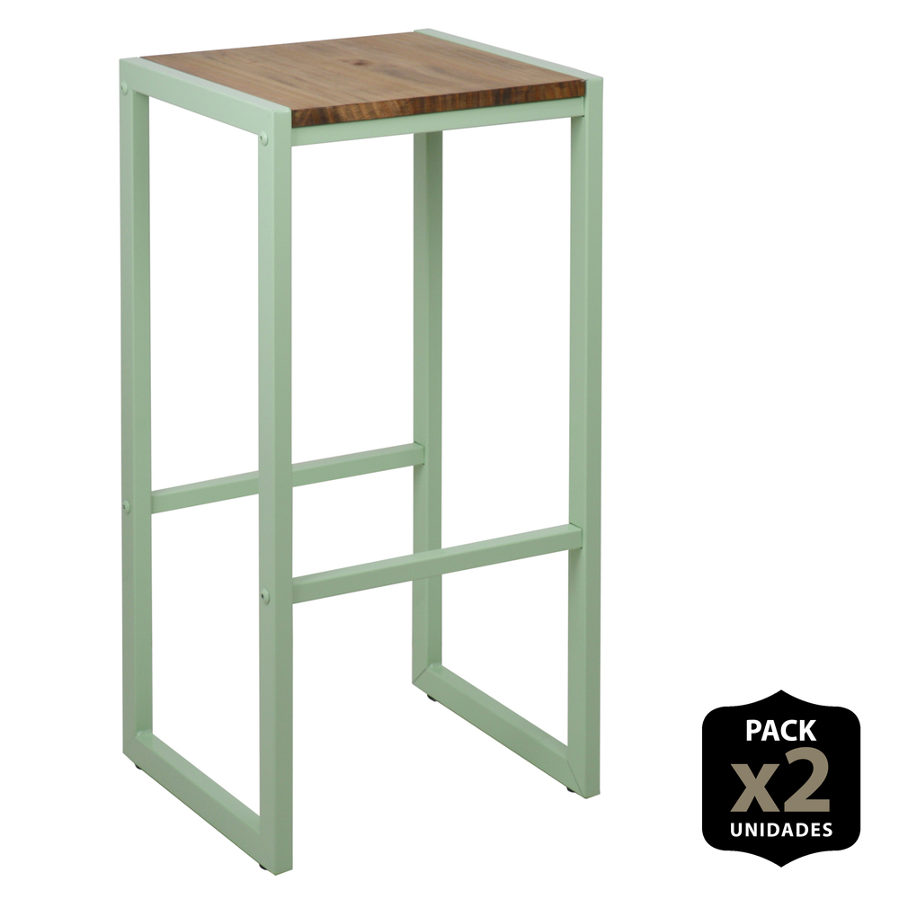 Pack 2 U. D High Stool ICub Green-36X32X75 Cm-Vintage Effect-Mint Green-2 Units