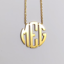 Custom Block Monogram Necklace Silver Gold Chain Stainless Steel Customized Personalized Dainty Initials  Necklace Moms Jewelry