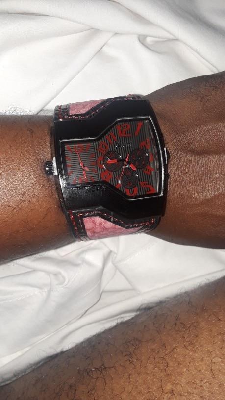 Montre homme de luxe 2 cadrans, bracelet cuir