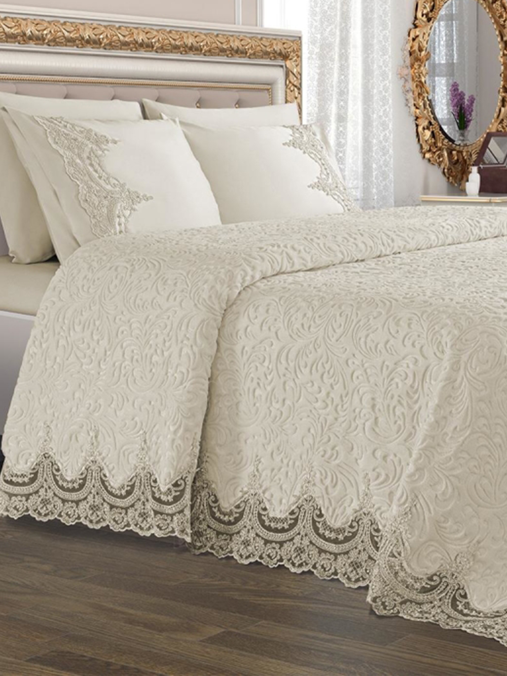 Blanket Set with Pillowcases Cushion Cover French Guipure Cream Arus for Bedroom Bed Sheet Home