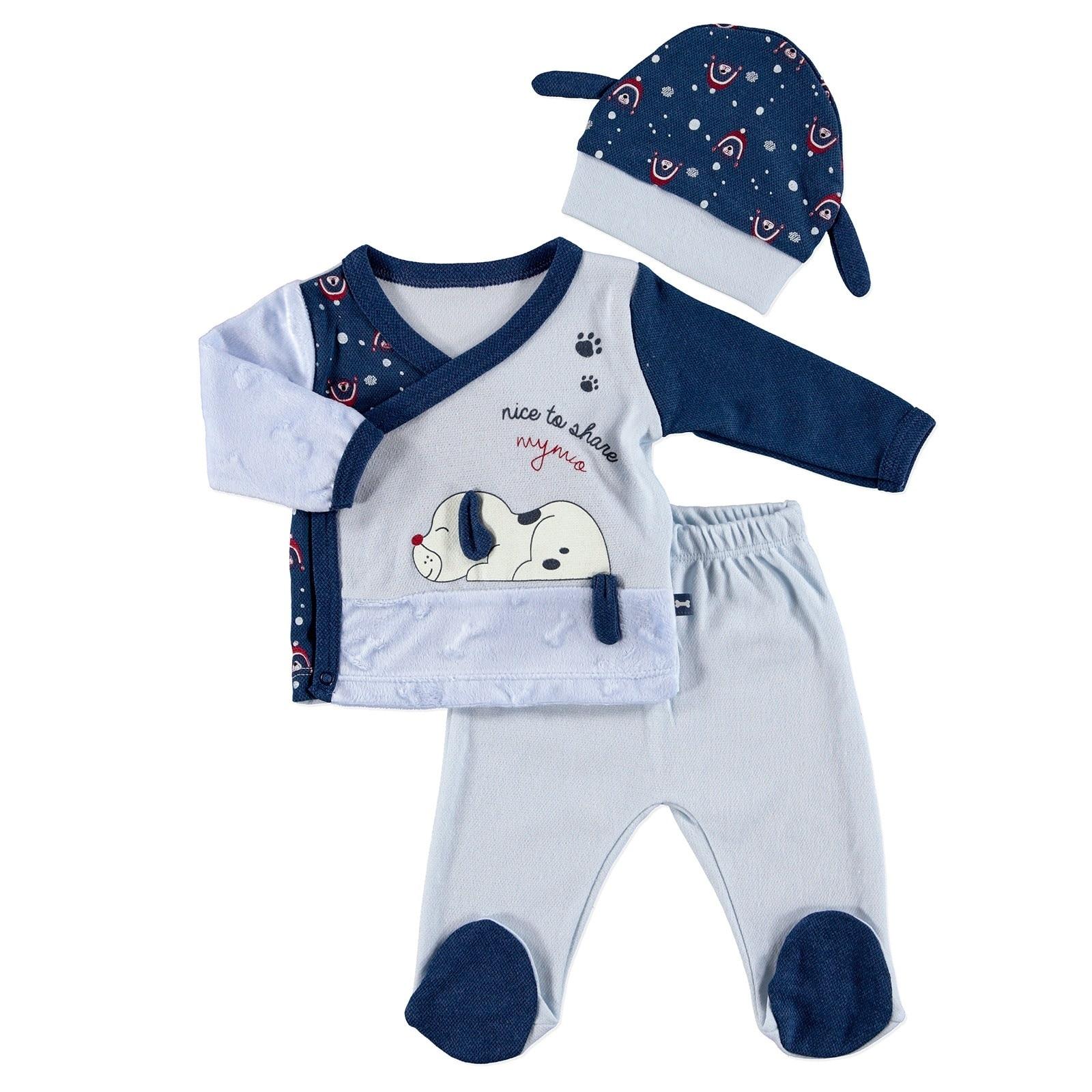 Ebebek Mymio Puppy Baby Bodysuit Footed Pants Hat 3 Pcs Set