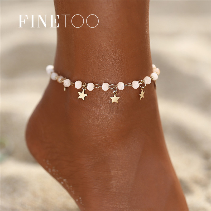 Bohemian Gold Color Star Anklets For Woman Vintage Handmade Tassel Beads Anklet Ankle Bracelet Leg Foot Bracelet Beach Jewelry