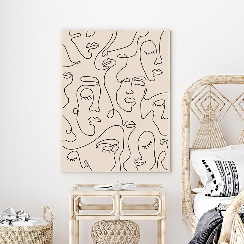 Single Line Face Art Prints Bedroom Decor