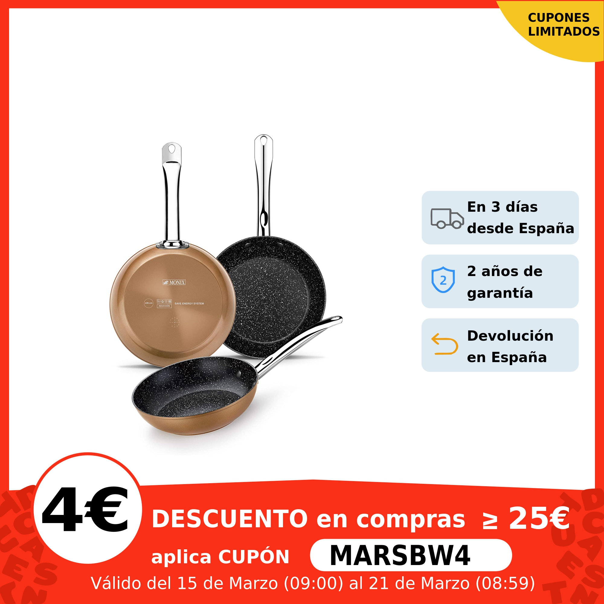 Monix Copper Juego 3 sartenes antiadherentes de aluminio acabado cobre. Set para cocina de gas vitroceramica inducción Juegos de utensilios de cocina  - AliExpress