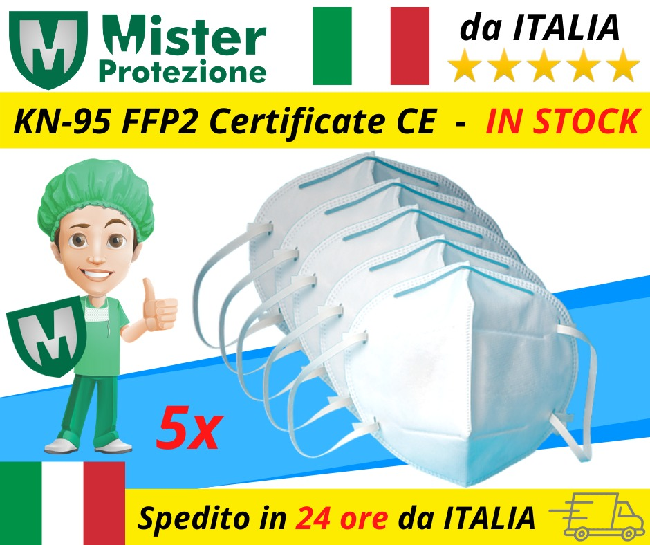 Mascherine FFP2 5 PZ DA ITALIA PRONTA CONSEGNA In 24\48 Con Corriere Protezione Viso Forma A Conchiglia Comoda Da Indossare