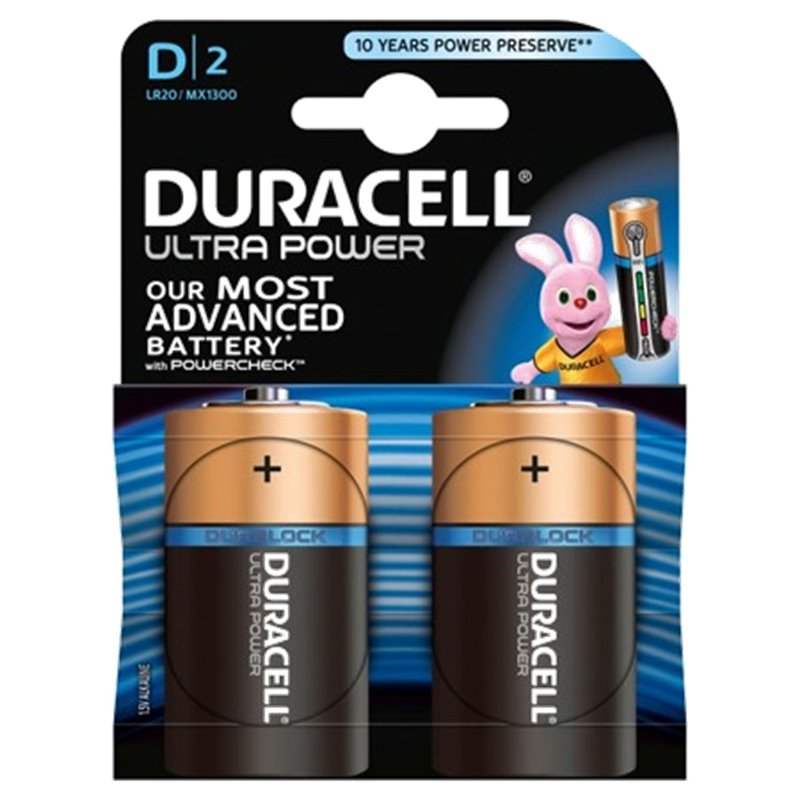 ALKALINE Battery LR20 D ULTRA POWER DURACELL 2 PZ