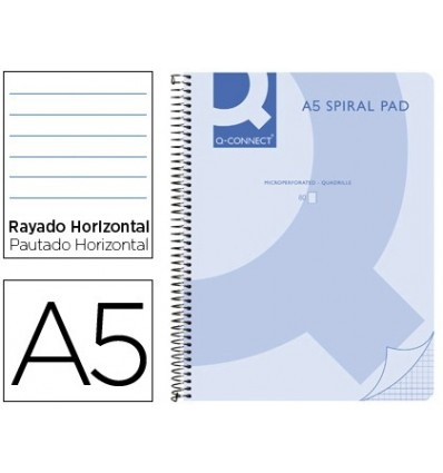SPIRAL NOTEBOOK Q CONNECT A5 MICRO PLASTIC CAP 80H 70G HORIZONTAL WITHOUT BANDS 6 DRILLS BLUE 5 Pcs