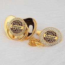 MIYOCAR gewohnheit irgendeine test kühle Leopard gold bling schnuller und schnuller clip schwarz BPA FREI dummy bling einzigartige design P LEO