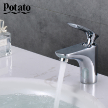 Potato 2colors Chrome  Basin Faucets  Bathroom Mixer Tap Washbasin Faucet Single Handle Single Hole  Crane Tap p10234-