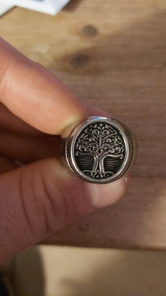Bague arbre de vie en acier homme