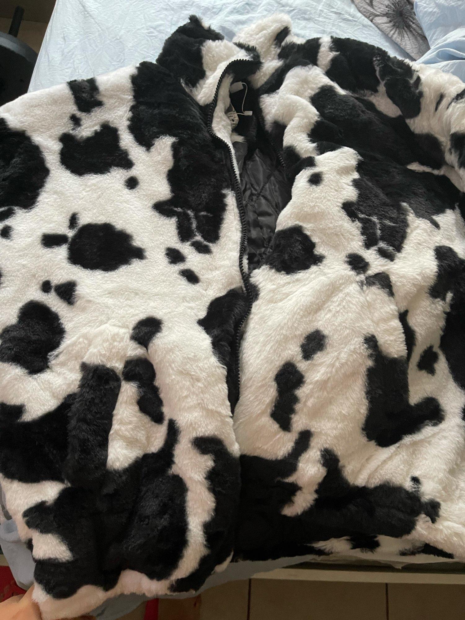 Harajuku E-girl Loose Coat with Cows Printing photo review