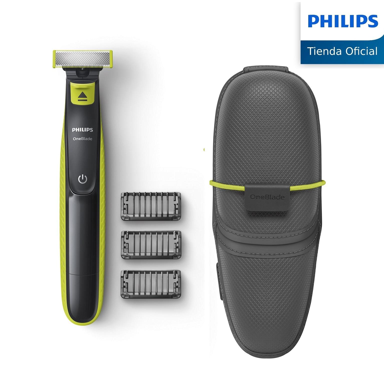 Philips, OneBlade, QP2520/65, Recortador de Barba con 3 Peines de 1,3 y 5 mm Longitudes, Incluye funda de viaje, Recargable|Maquinillas de afeitar eléctricas| - AliExpress