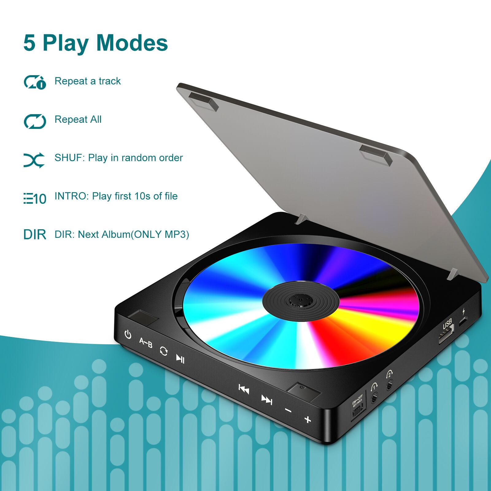 Portable CD Player Double Headphone Version Touch Button Reproductor CD Walkman Discman Rechargeable Shockproof LCD Display 6