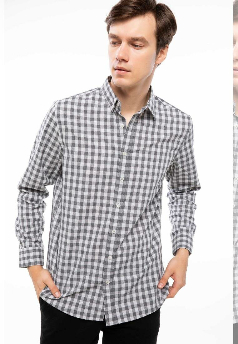 DeFacto Man Grids Prints Long Sleeve Cotton Shirt Casual Smart Top Shirts Men Cotton Turn-down Collar Shirts-I9617AZ18AU