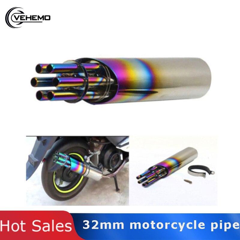Tuyau d'échappement en acier inoxydable moto moto silencieux 32mm Gatling rotatif universel Scooter Refit coloré Db tueur