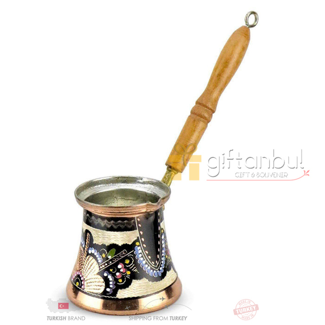 Fancy Ibrik Turkish Copper Coffee Pot Wood Handle  1