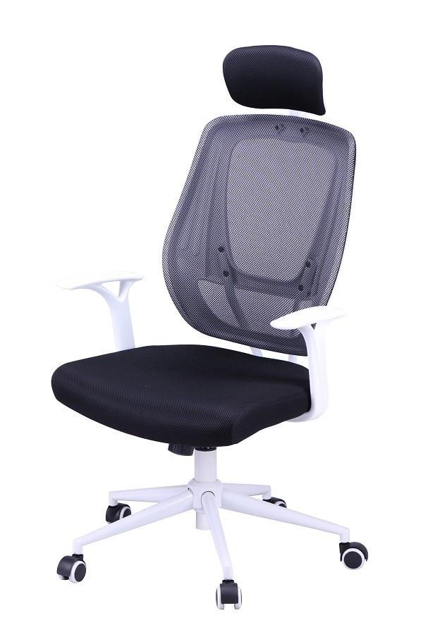 Office Armchair ULRIK, White, Gas, Rocker, Mesh And Black Fabric
