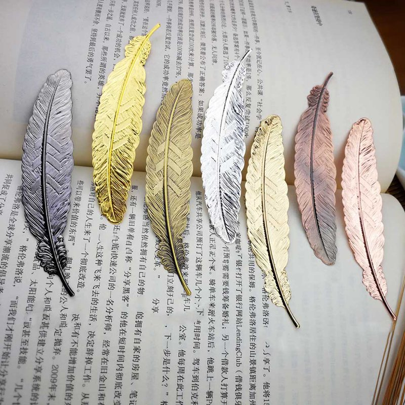 1pcs Creative Metal Feather Bookmark Vintage Cool Page Book Markers School Office Supplies