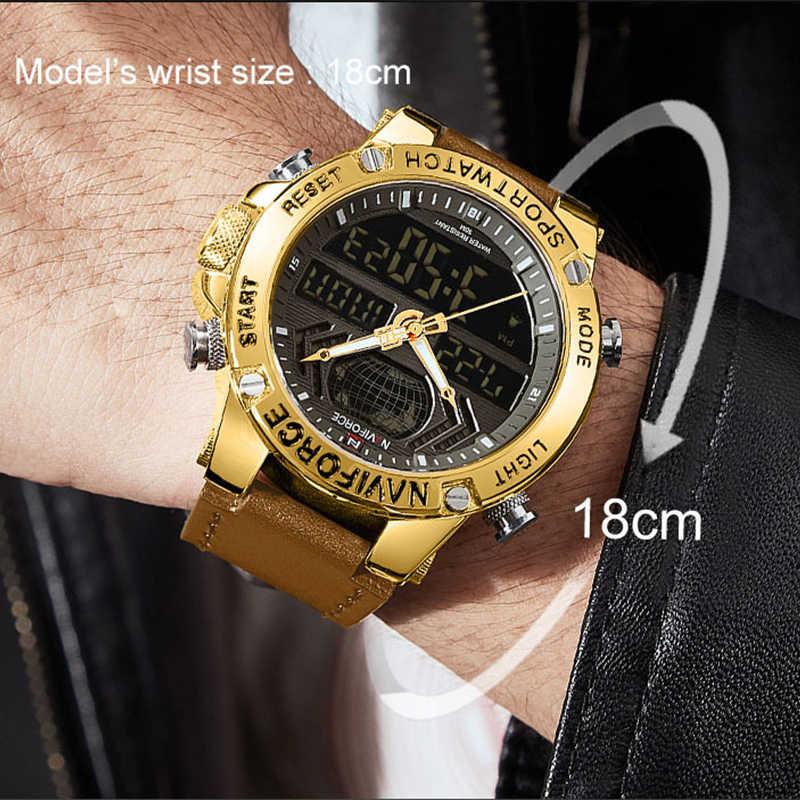 NAVIFORCE, роскошные золотые мужские часы, спортивные, светодиодный, цифровые, кварцевые часы, военные, кожа, водонепроницаемые часы для мужчин, Relogio Masculino 2019