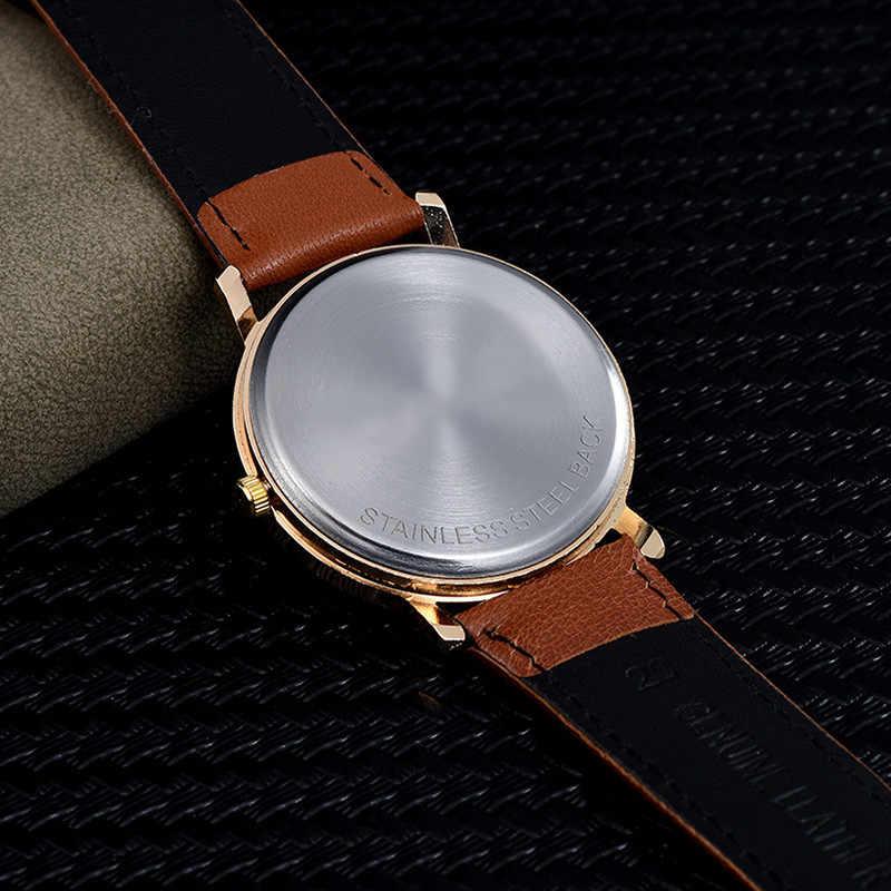 Erkek Kol Saati אופנה ערבית ספרות חיוג שעון יד Montre Relojes Hombre בריטי רצועת עור מקרית ספורט Mens שעון