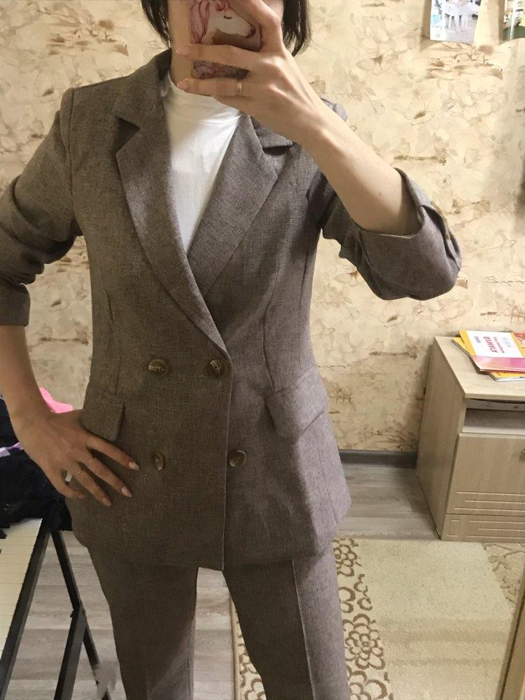 Women Suit 2 Piece Sets Casual Blazer High Waist Pant Office Lady Notched Jacket Pant Suits Femme set reviews №4 77074