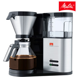 Cafetera goteo Melitta Aroma Elegance 1012-02, cafetera eléctrica de filtro para 10 tazas de café, negro y acero inoxidable