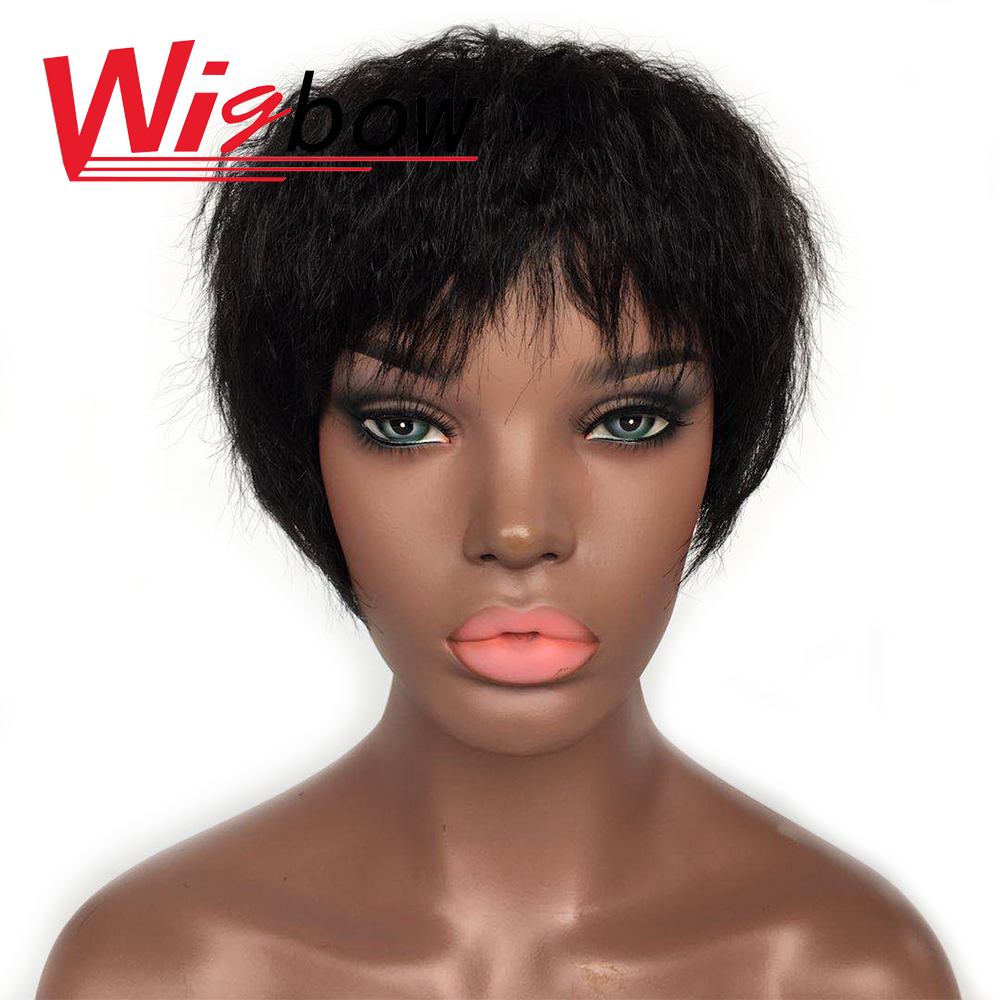Wigbow Non-Remy Kinky Straight Wig Short Natural Hair Wet And Wavy Wig With Indian Baby Hair For Black Women Machine Made Wig