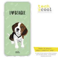 FunnyTech®Etui support pour BQ Aquaris Silicone V Plus/VS plus L animaux de compagnie personnes j'adore Beagle fonds vert